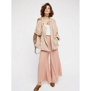 Free People Oversize blush knit quilted jacket XS